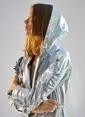 morhipoxsudi etuz Kolları Fırfırlı Hologram Metalik Rüzgarlık Gri